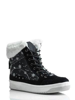 Ботинки черные комбинированные | 1445804
