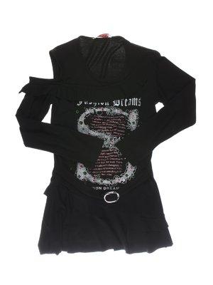 Туника черная с принтом и рюшами | 1457404