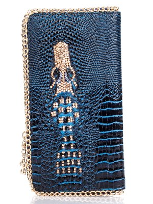 Кошелек-клатч синий с тиснением и декором   1468966