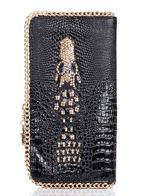 Кошелек-клатч черный с тиснением и декором   1468970