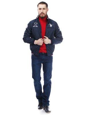 Куртка темно-синяя с принтами   410419