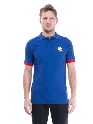 Футболка-поло синя з принтом | 1504604