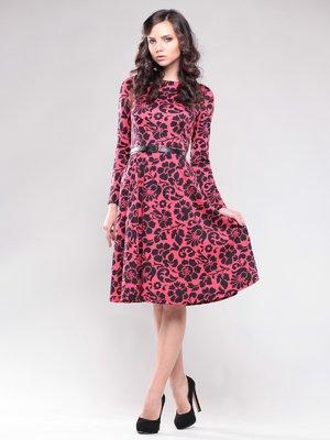 Платье красное в цветочный принт | 1506366
