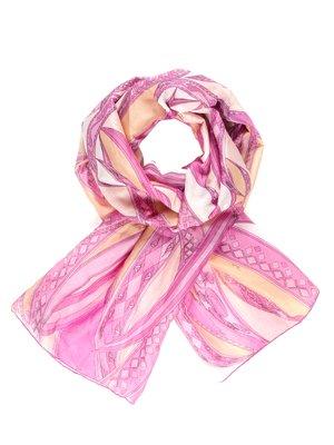 Шарф розово-персикового цвета в принт   740126
