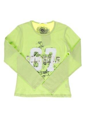 Лонгслів світло-зелений з принтом | 1364665
