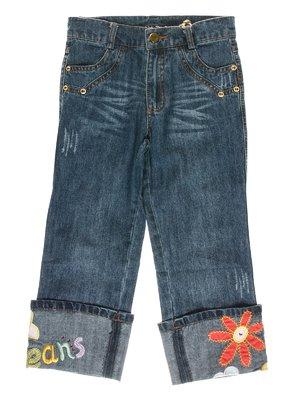 Капри синие джинсовые с рисунками | 1466712