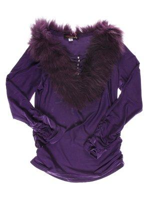 Блуза фиолетовая с меховым воротником | 1523945