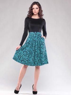 Платье черно-бирюзовое в орнамент | 1531624