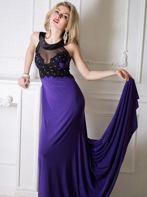 Сукня фіолетова з мереживним оздобленням і декором | 1540320