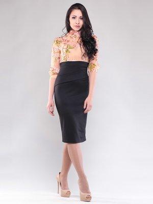 Сукня персиково-чорна в принт   1545264