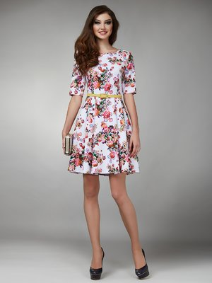 Платье белое в цветочный принт - Petra D'Lux - 1545337
