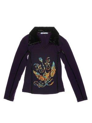 Туніка темно-фіолетова з принтом | 1547614