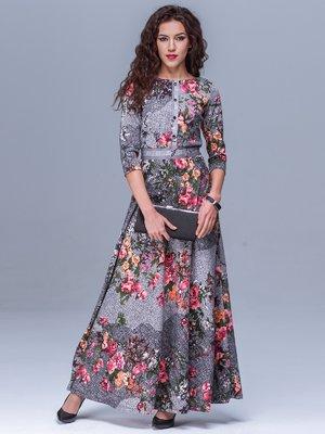 Платье серое в цветочный принт | 1533603