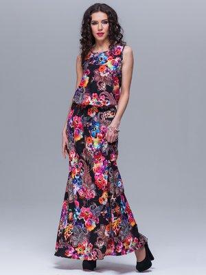Платье черное в цветочный принт | 1580476