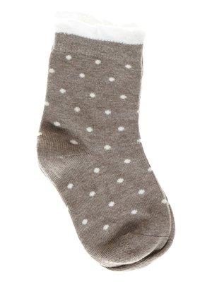 Шкарпетки темно-бежеві в горох | 1594017