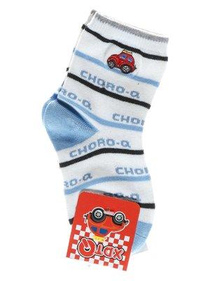 Носки бело-голубые с полосками и надписями | 1594012