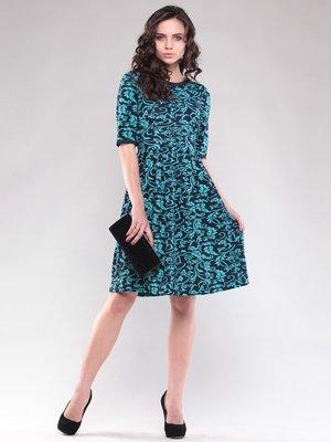 Платье сине-бирюзовое в принт | 1604498