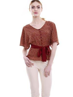 Блуза цегляного кольору в дрібний принт | 1618829