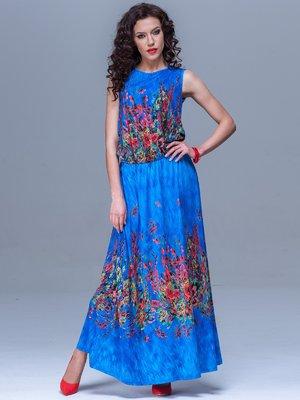 Сукня синя в квітковий принт | 1645358