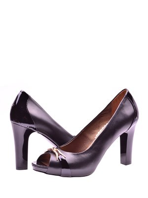 Туфлі чорні комбіновані з декором | 1653538