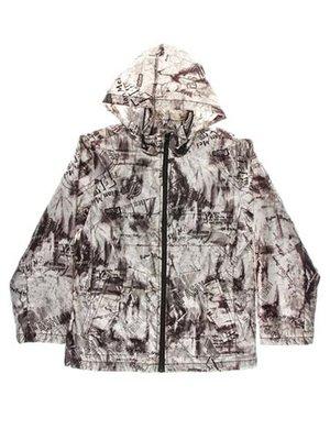 Куртка серо-бежевая в надписи с капюшоном   1651306
