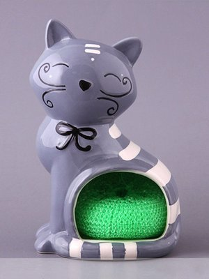 Подставка для кухонных принадлежностей «Серый кот»   1663343