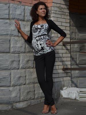 Блуза черно-белая с принтом | 1700424