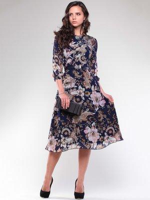 Платье темно-синее в цветочный принт | 1706701