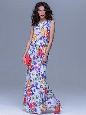 Платье молочного цвета в цветочный принт   1707507