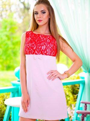 Платье бежево-красное | 1712995