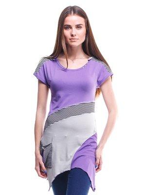 Туніка фіолетово-сіра з смужками | 1713146