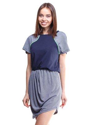 Платье синее в узкую полоску с контрастной отделкой | 1711692