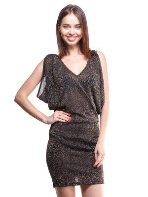 Платье черно-золотистое с люрексом | 1443487