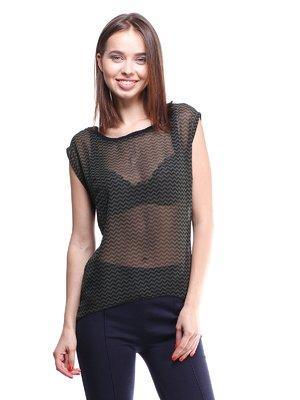 Блуза черно-зеленая с отделкой в зигзагообразную полоску | 976241
