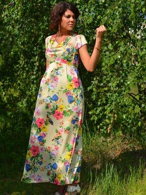 Платье светло-желтое в цветочный принт | 1734158