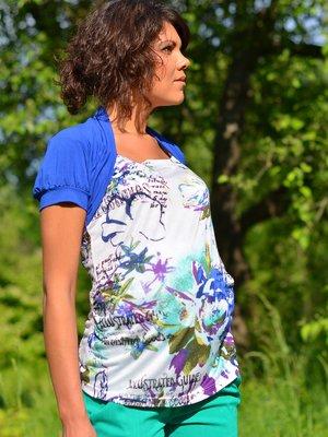 Блуза комбинированной расцветки со стилизованным болеро | 1734162