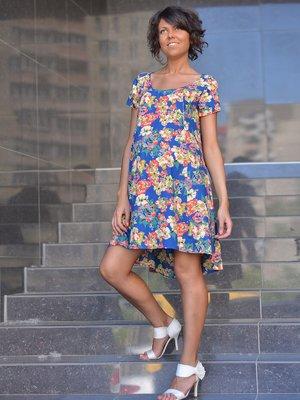 Платье синее в цветочный принт | 1734179