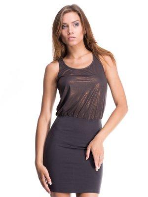 Платье черно-бронзового цвета комбинированное | 405743