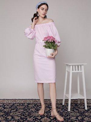 Платье розовое в полоску | 1745286