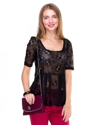 Блуза чорна з декором | 267341
