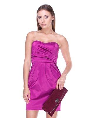 Платье-бюстье сиреневое со складками | 983050