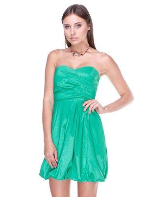Платье-бюстье зеленое со складками | 983025