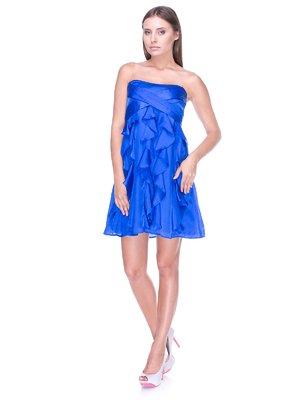 Платье-бюстье синее с воланами | 983049