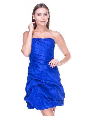 Платье-бюстье синее с драпировкой | 983036