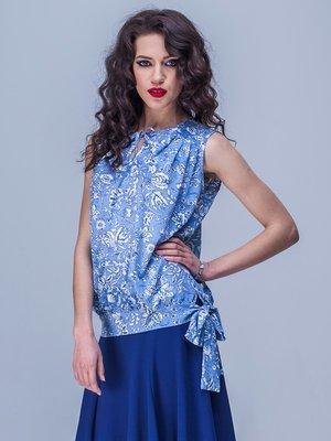 Блуза блакитна в квітковий принт | 1757046