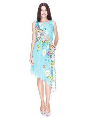 Платье ментолового цвета в принт   1781131