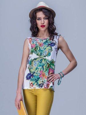 Блуза біла з квітковим принтом | 1745405