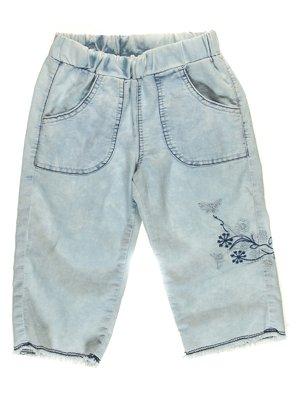 Капри голубые джинсовые с вышивкой | 1788392