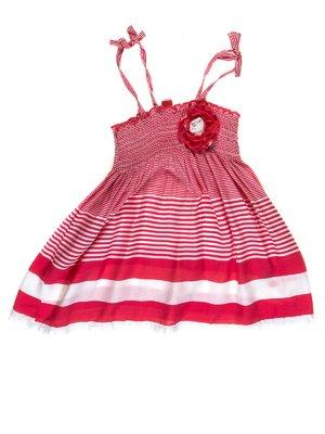 Платье в полоску с декоративным цветком | 1788513