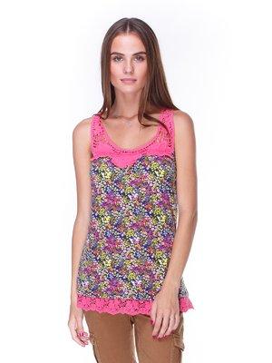 Блуза квіткового забарвлення з мереживом | 1788514